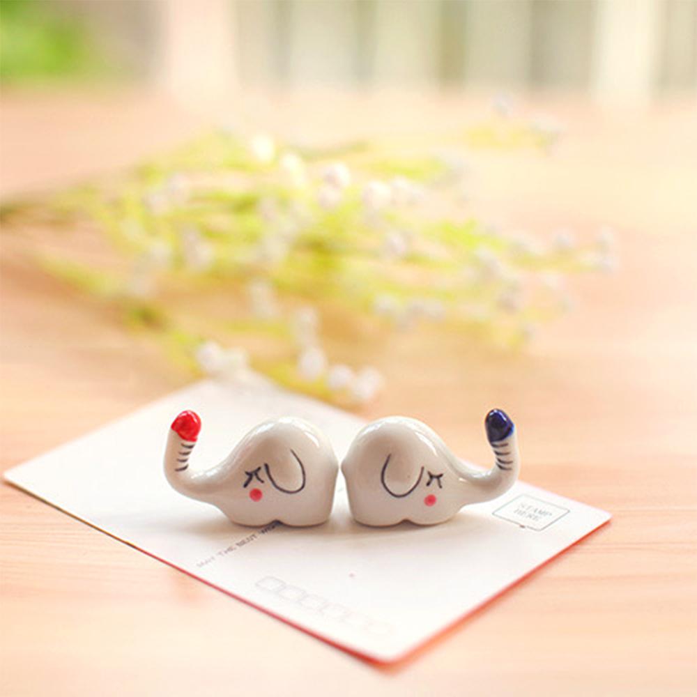 Combo 6 tượng gác đũa gốm sứ hình chú voi xinh xắn phụ kiện bàn ăn