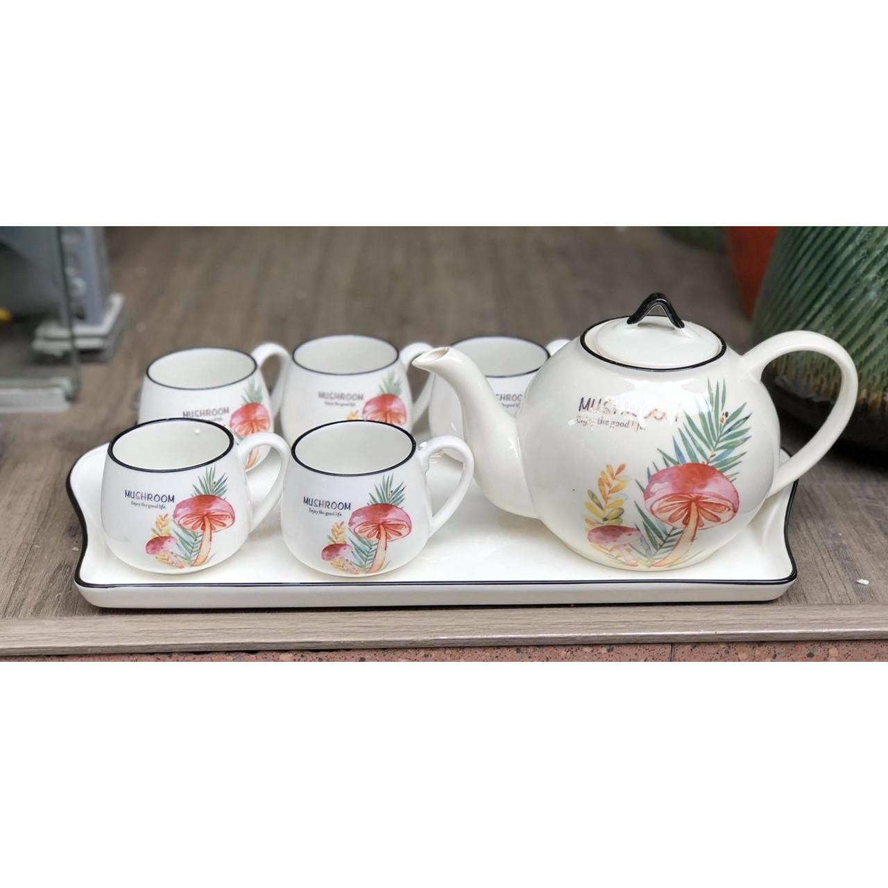 Bộ ấm chén tròn kèm khay sứ pha trà trắng họa tiết cây nấm lá kim - ANTH009