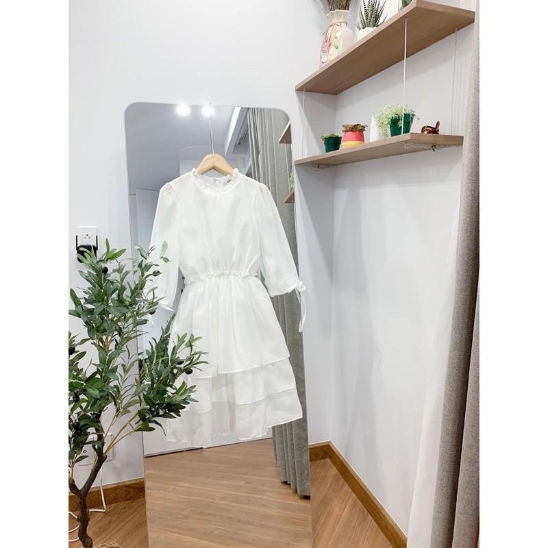 Váy Trắng Tinh Khôi Cổ Bèo Ngắn Tay 3 Tầng - Váy Trắng Tiểu Thư Xinh Xắn
