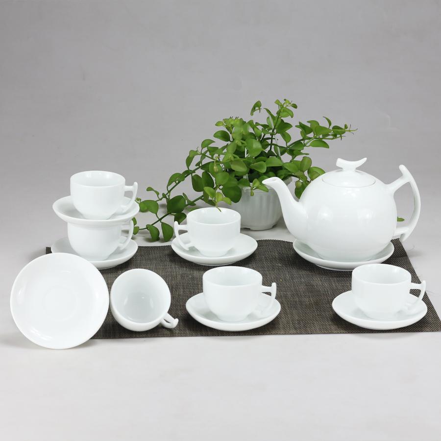 Bộ ấm chén men trắng Bưởi Cành gốm sứ Bát Tràng (bộ bình uống trà, bình trà)