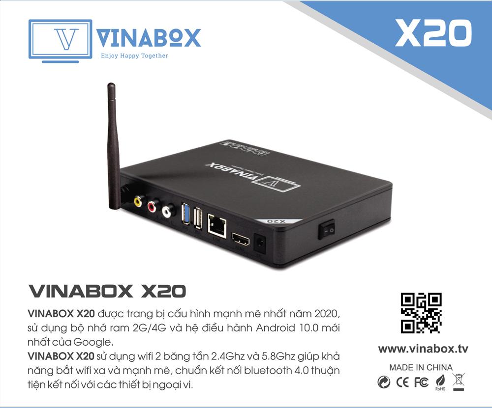 Android vinabox X20-2020 bản Ram 4G, Rom 32G- cấu hình mạnh - SẢN PHẨM CHÍNH HÃNG