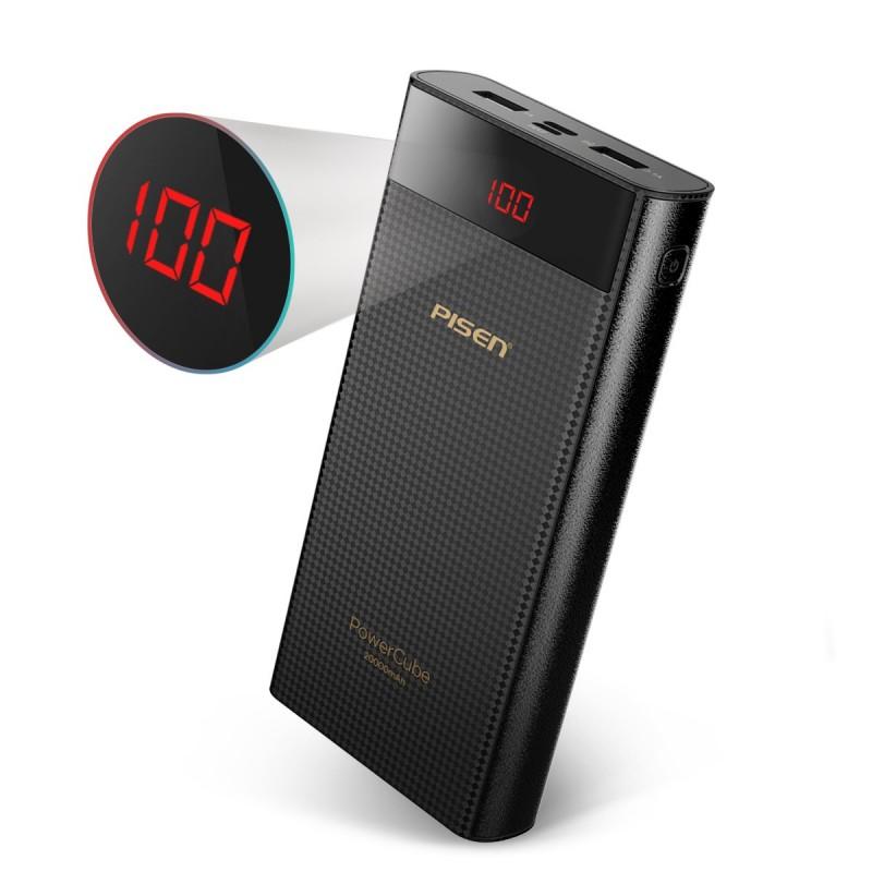 Pin sạc dự Phòng PISEN Power Cube 20000mAh (2x USB 1.5A/2.1A , 1x Type-C, 1xMicro USB ) - Hàng Chính hãng
