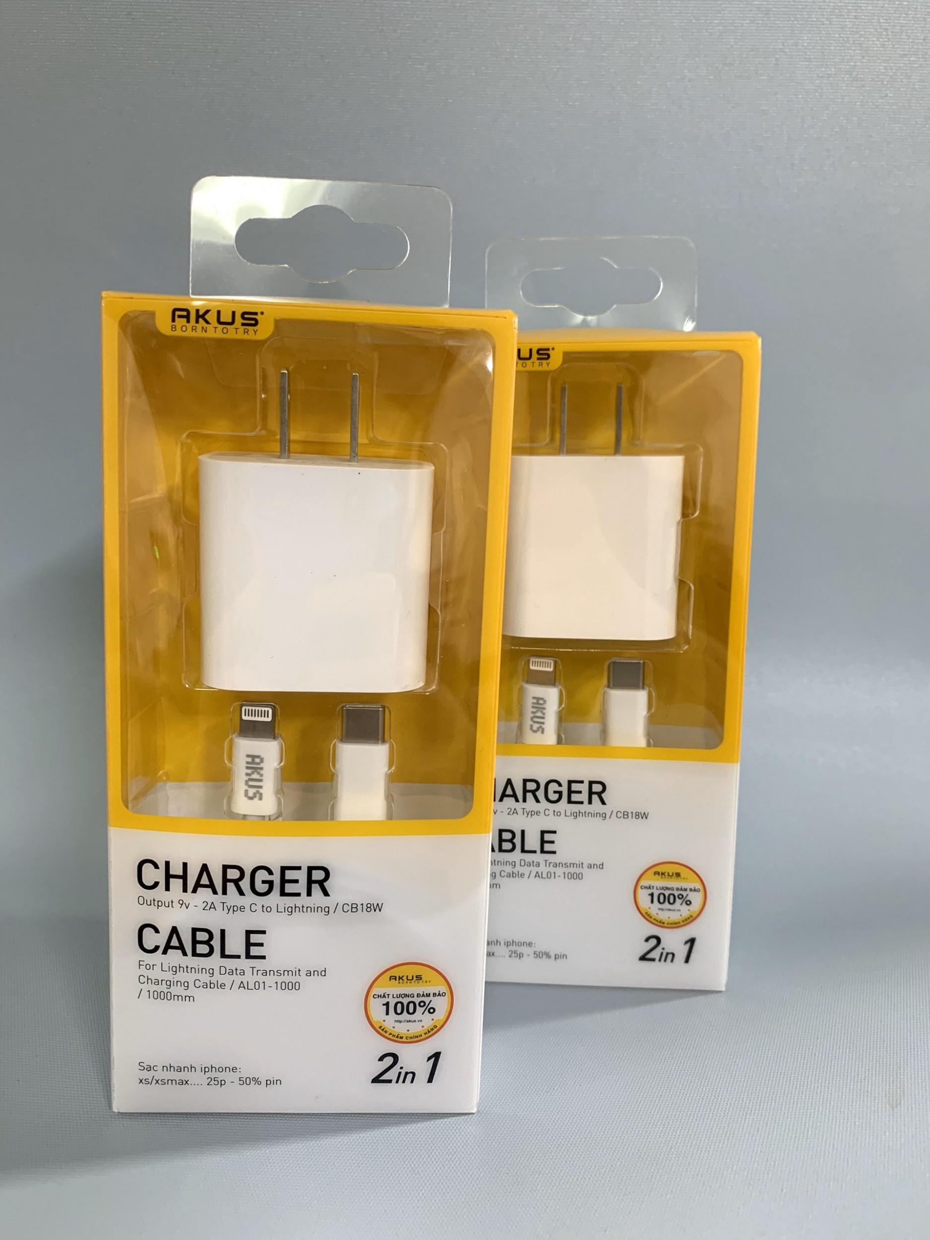 Combo bộ cáp sạc AKUS Iphone 11 CB18W đầu Type C to Lightning - hàng chính hãng