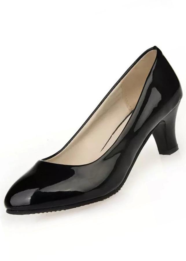 Giày búp bê nữ có gót chất liệu Pu bóng mềm 9600169