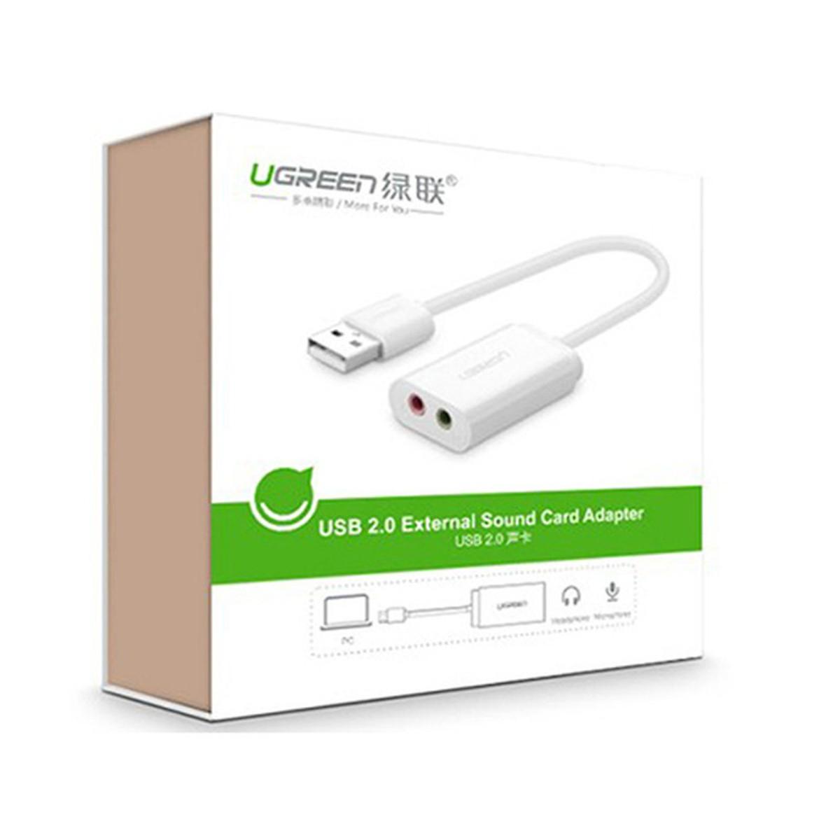 Bộ chuyển đổi USB 2.0 sang 2 cổng Audio 3.5mm cho tai nghe + mic UGREEN - Hàng Chính Hãng