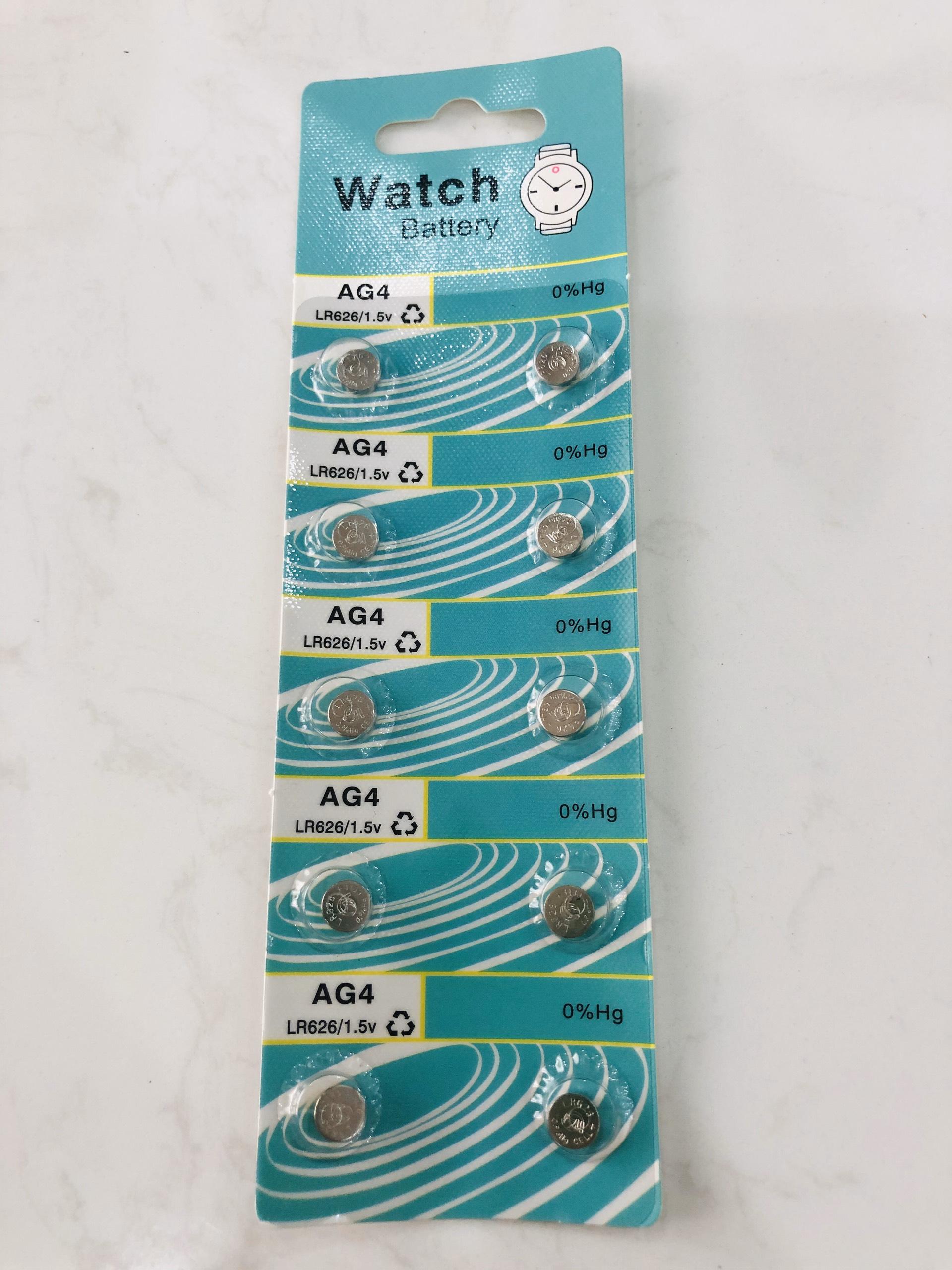 Vỉ pin đồng hồ phổ thông AG4 - 626 - 377A ( 1 vỉ 10 viên pin),phù hợp cho nhiều loại đồng hồ phổ thông hoặc đồ chơi.
