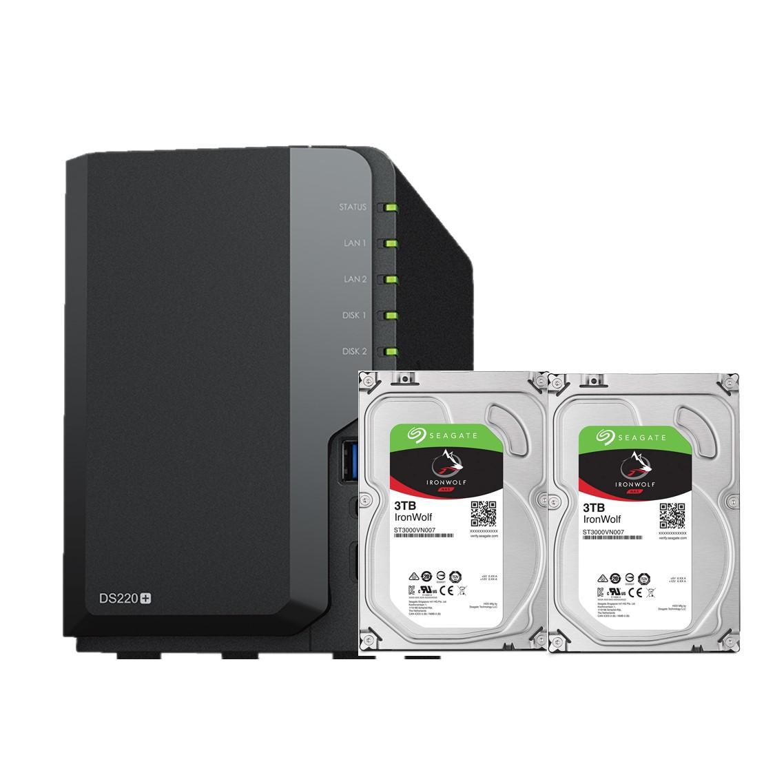 Combo: Thiết bị lưu trữ qua mạng DS220+  & 2 x Seagate HDD ST3000VN007 (Hàng chính hãng)