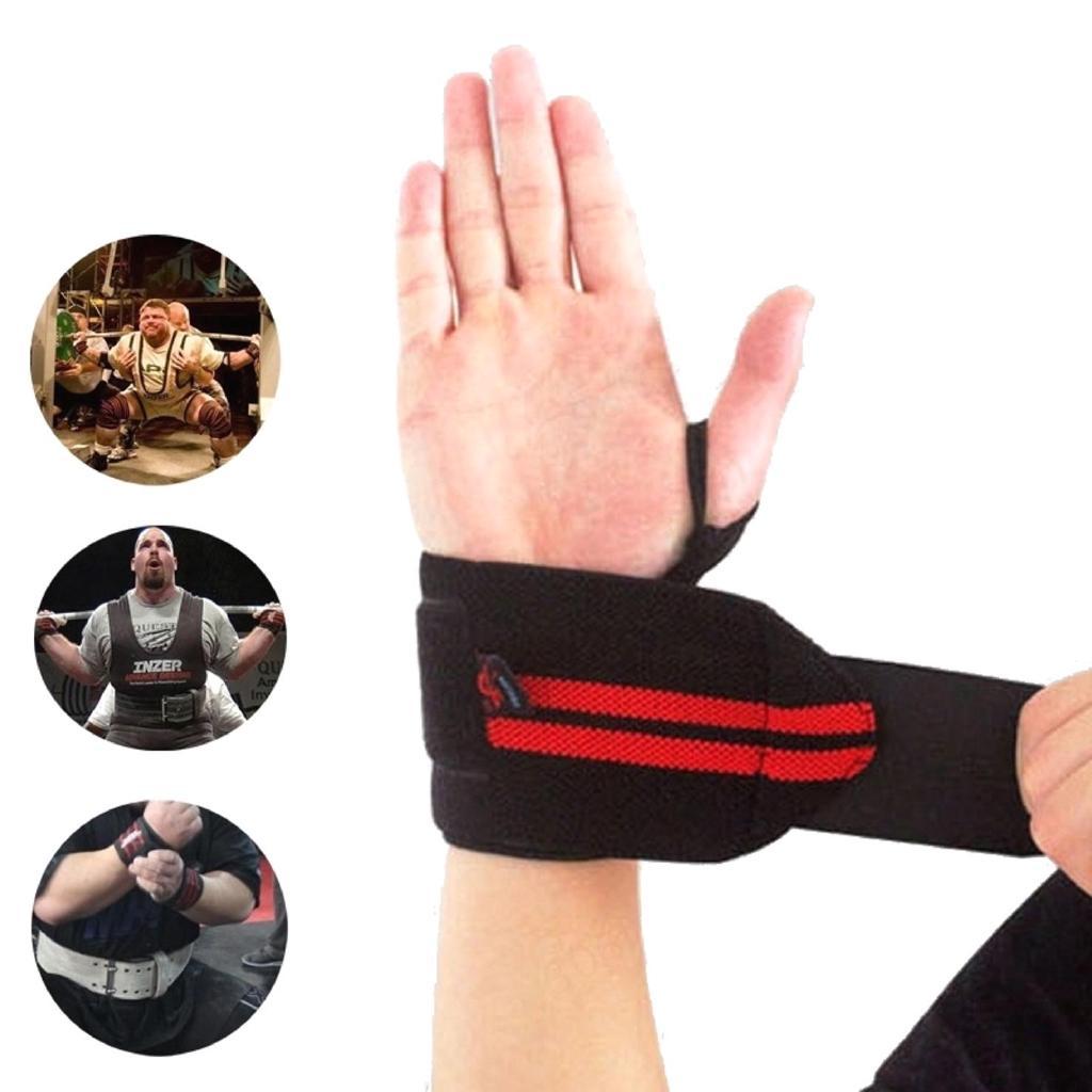 Đai quấn bảo vệ cổ tay hỗ trợ Tập Gym, Nâng Tạ sọc đỏ(1 đôi)