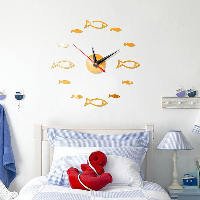 Đồng hồ treo tường 3D tự lắp ráp phong cách Châu Âu hiện đại đang HOT DH06 hình cá