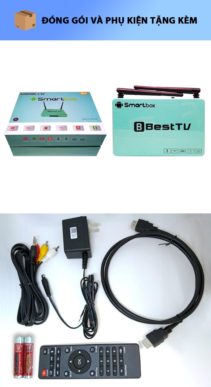 Android TV Box BestTV R9 HĐH Android 7.1 RAM 1GB, ROM 8GB, hỗ trợ độ phân giải Full HD 1080P, sản phẩm chất lượng cao, thao tác đơn giản, hỗ trợ kết nối Wifi, LAN, chuột không dây, bàn phím