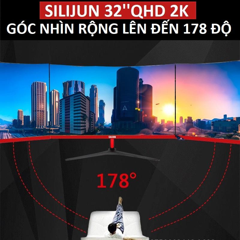 Màn Hình Máy Tính Tràn Viền Siêu Mỏng SILIJUN Gaming 32 inch IPS 2K 2560 x 1440 75Hz - hàng nhập khẩu