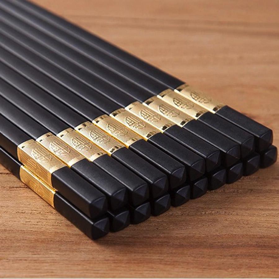 Bộ 10 đôi đũa hợp kim sang trọng- Màu vàng