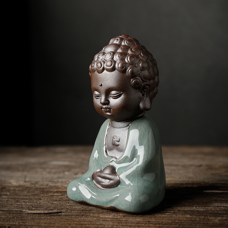 Tượng Phật Gốm Xanh Thiền Ngồi