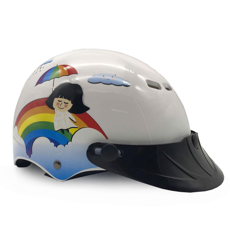 Mũ Bảo Hiểm Trẻ Em Nửa Đầu Protec Pooh Họa Tiết Em Bé Mưa Và Cầu Vồng Cao Cấp An Toàn Siêu Thoáng - Hàng Chính Hãng