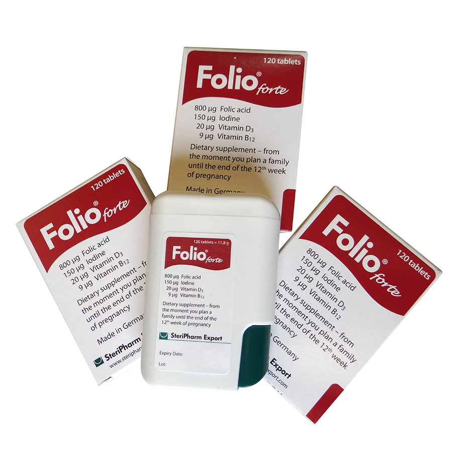 Viên uống bổ sung Acid Folic cho phụ nữ dự định mang thai, phụ nữ đang mang thai Folio® forte - Hộp 120 viên