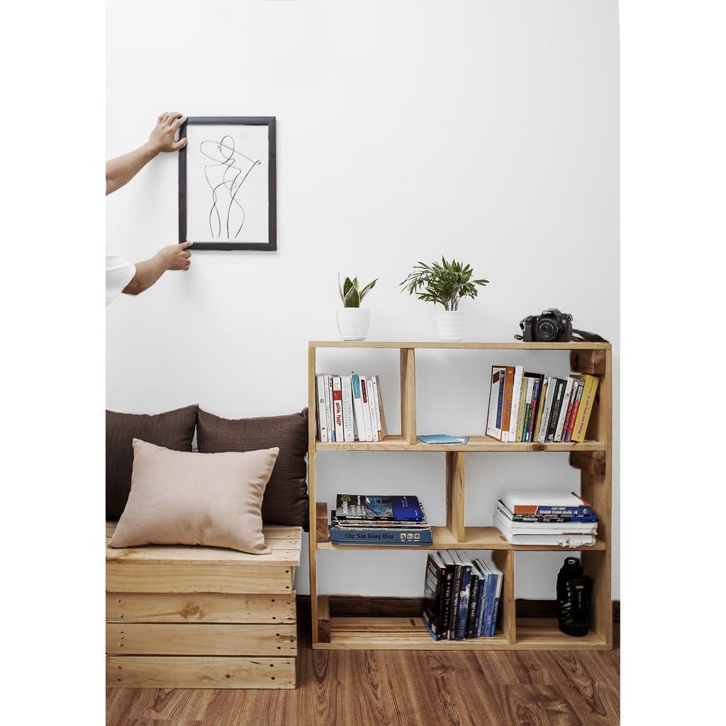 Kệ sách đứng 3 tầng gỗ thông tự nhiên kích thước 90x60x20 cm