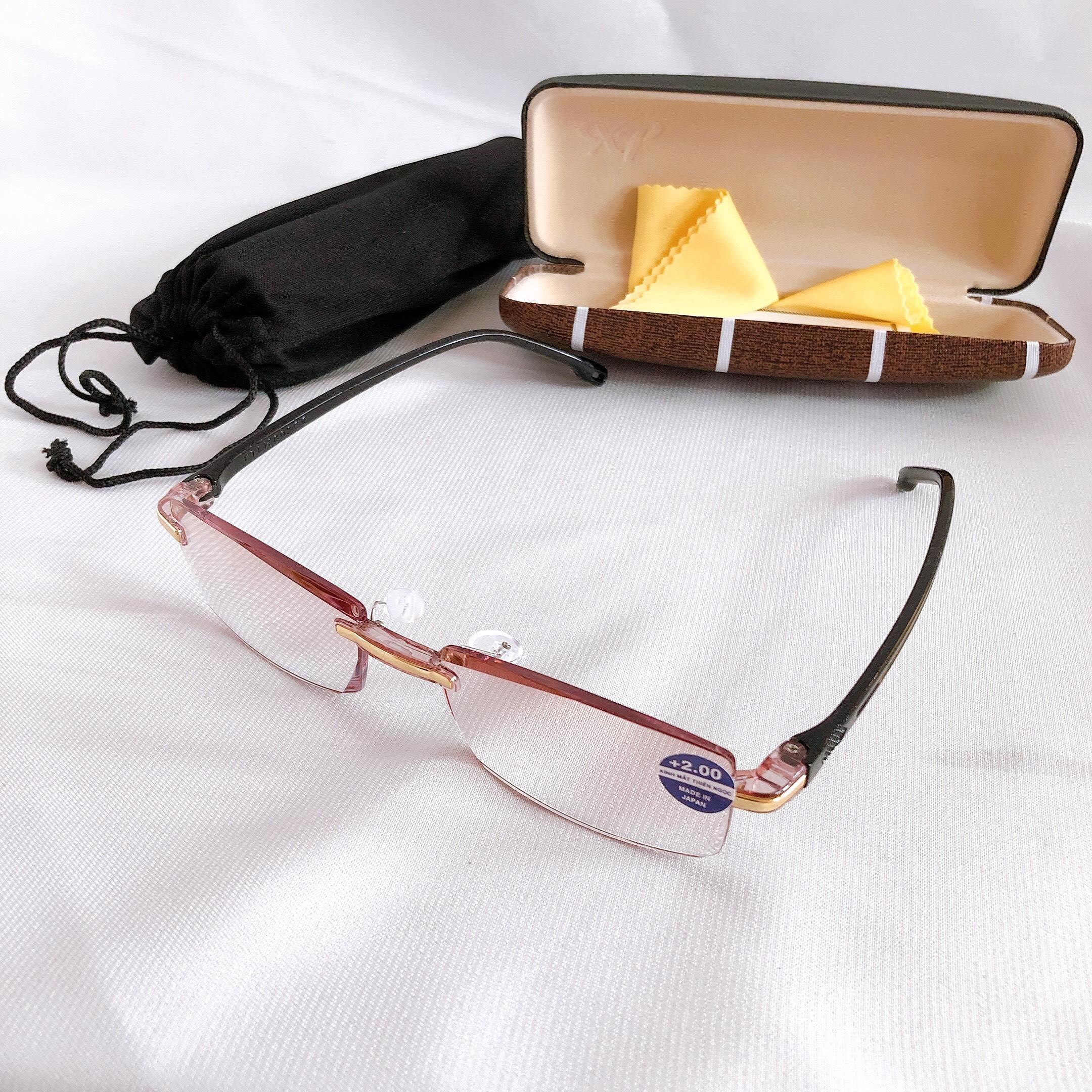 Kính lão thị viễn thị sẵn độ không vành sang trọng siêu nhẹ 09KV đeo cực êm và ôm độ tuwg +100 đến +400