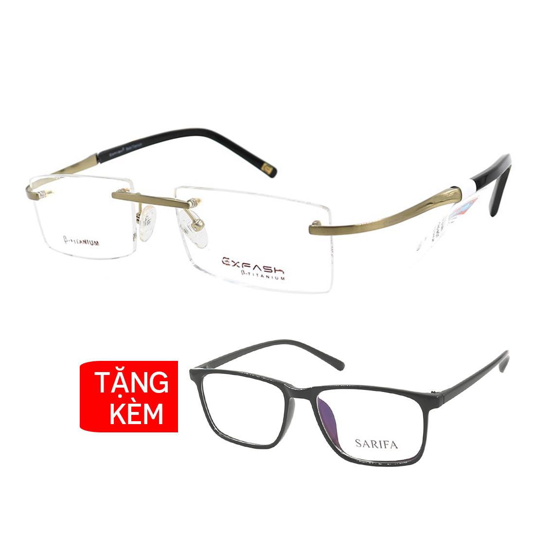 Gọng kính, mắt kính chính hãng Exfash EF1271T 209 - Tặng 1 gọng kính