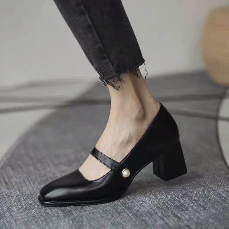 (SẴN HÀNG) Giày cao gót style tiểu thư quai ngang G023