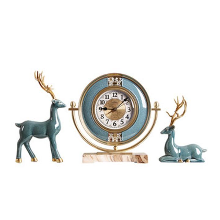 Bộ đồng hồ đôi hươu để bàn, Decor trang trí bàn cao cấp, Đồng hồ trang trí bàn làm việc