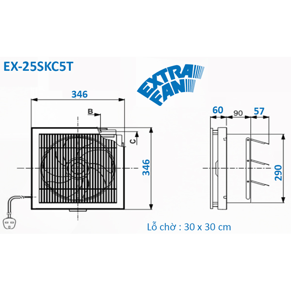Quạt hút thông gió Mitsubishi EX-25SKC5T-BW - Hàng chính hãng