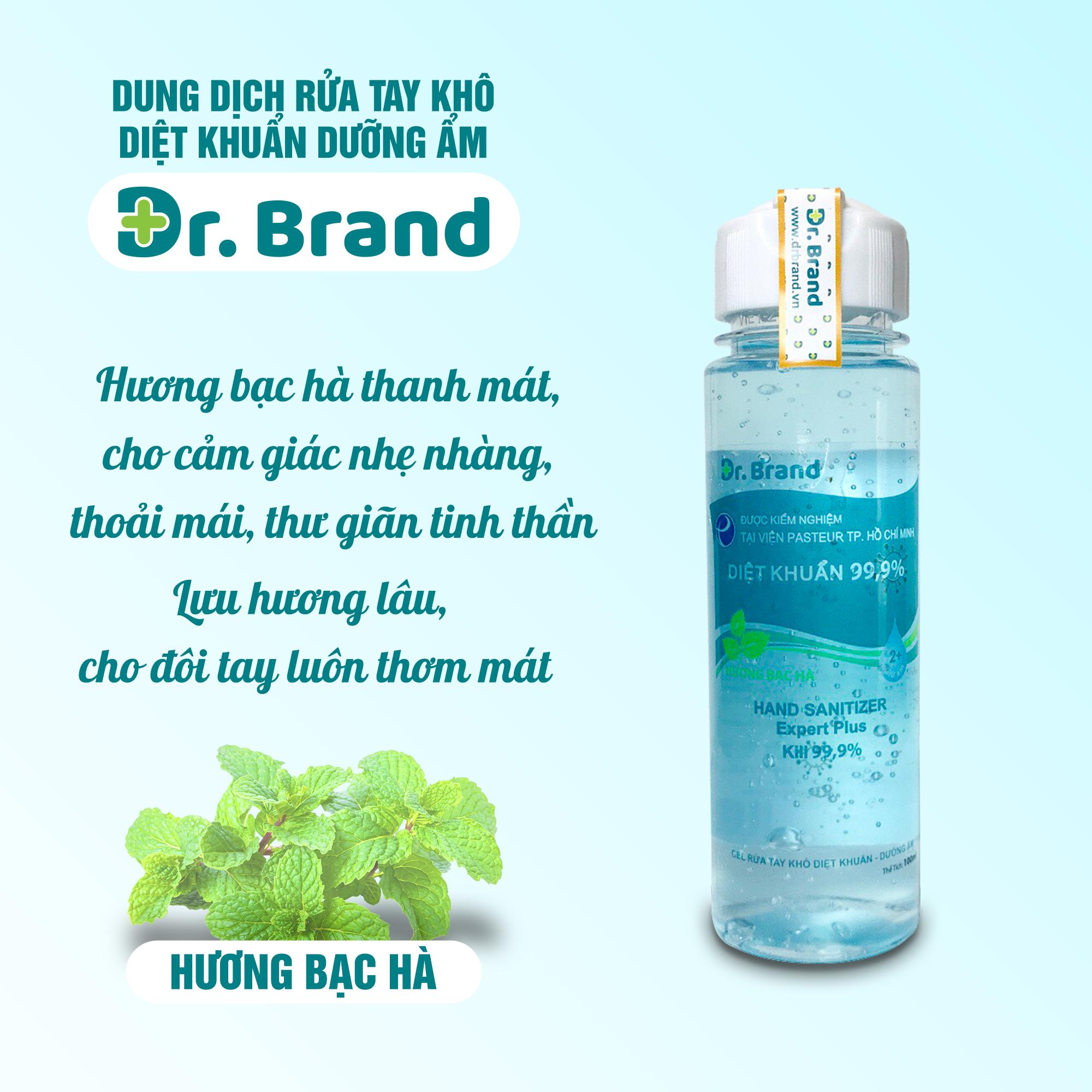 Nước rửa tay khô diệt khuẩn, diệt virus chuyên dùng cho nhân viên y tế, được kiểm nghiệm tại viện Pasteur Tp.Hồ Chí Minh – Dr.Brand – Hương Bạc Hà 100ml -Tặng vòng tay chỉ đỏ may mắn