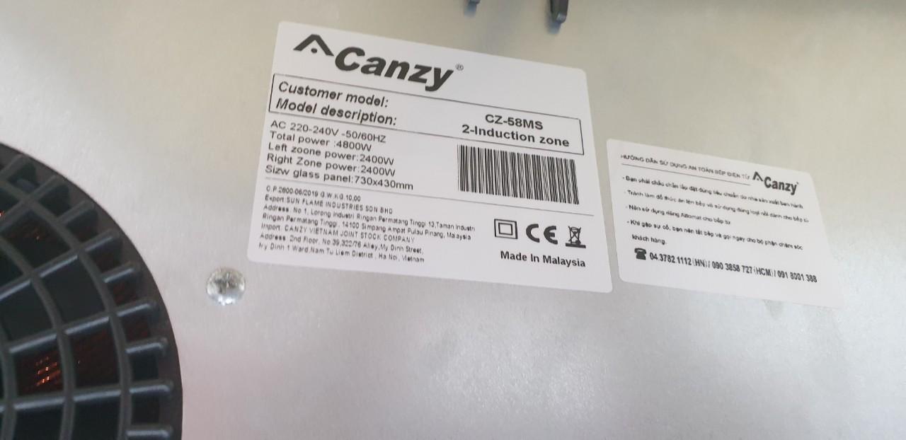 Bếp từ Canzy CZ 58 MS, nhập khẩu Malaysia, inverter tiết kiệm điện, hàng chính hãng
