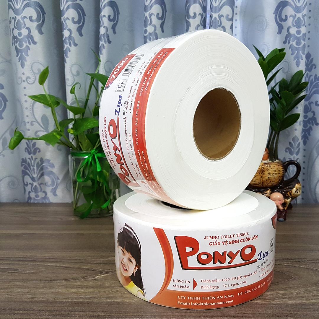 Combo 6 cuộn giấy vệ sinh cuộn lớn PONYO 700g - LỤA