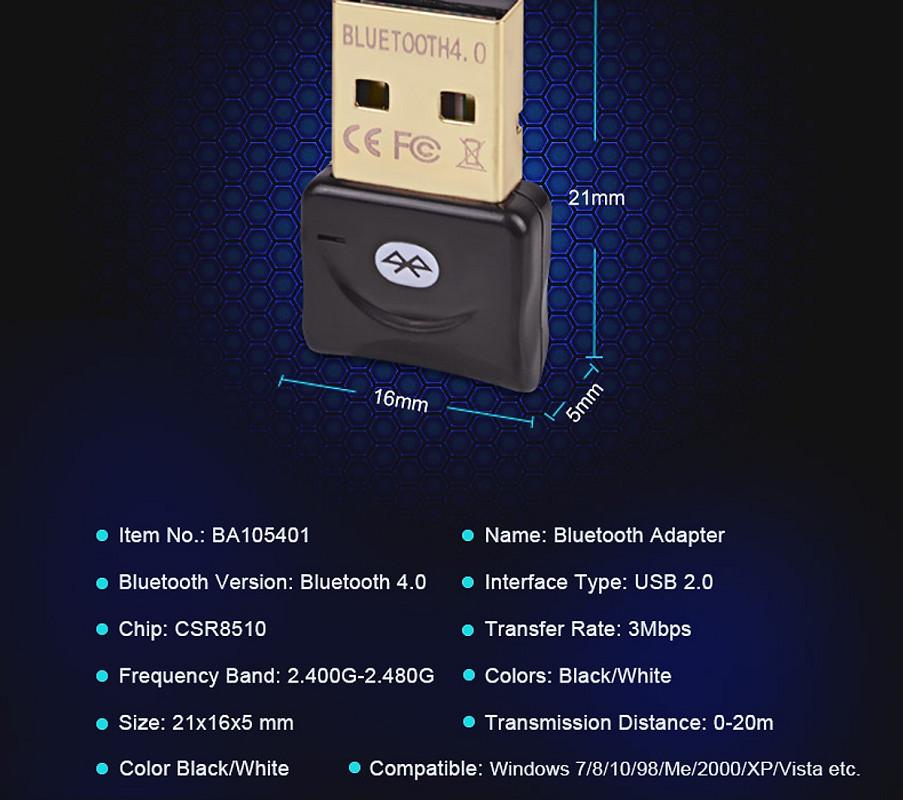 USB bluetooth cho PC - USB Bluetooth Máy Tính 4.0 CSR BT-06A - Trắng