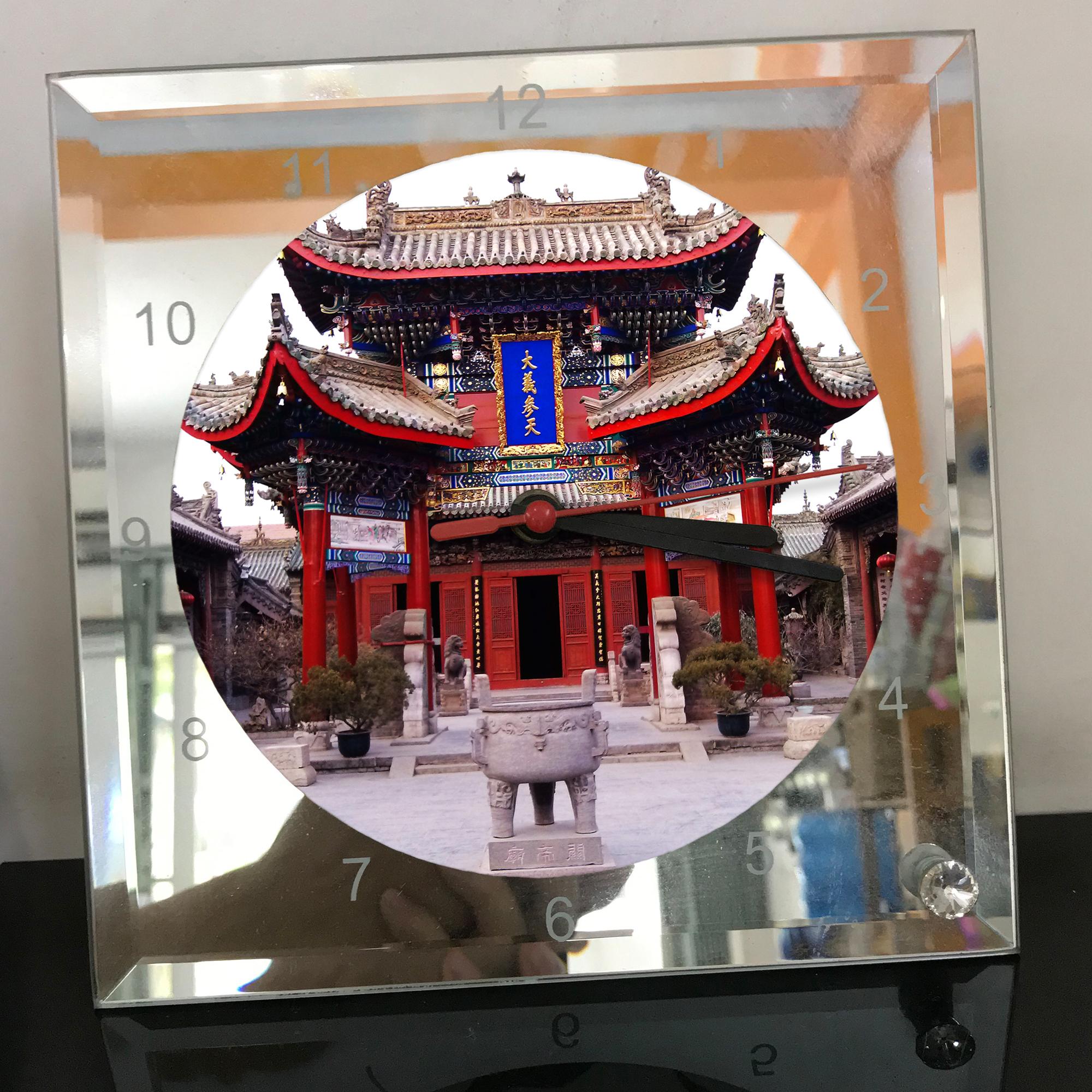 Đồng hồ thủy tinh vuông 20x20 in hình Temple - đền thờ (53) . Đồng hồ thủy tinh để bàn trang trí đẹp chủ đề tôn giáo