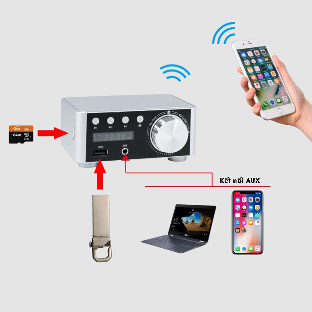 Amply Hifi Mini Bluetooth 5.0, tích hợp khe cắm thẻ nhớ, USB, AUX 3.5mm hỗ trợ đầy đủ định dạng âm thanh, kèm adapter củ sạc, dây loa MIHOCO BT5.0-Hàng chính hãng
