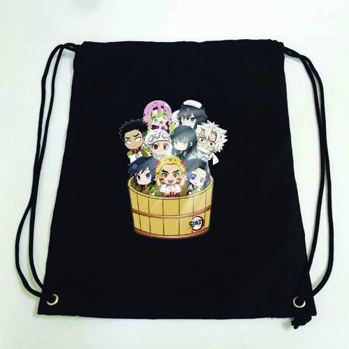 Balo dây rút đen in hình KIMETSU NO YAIBA anime chibi ver THÙNG TẮM  túi rút đi học xinh xắn thời trang
