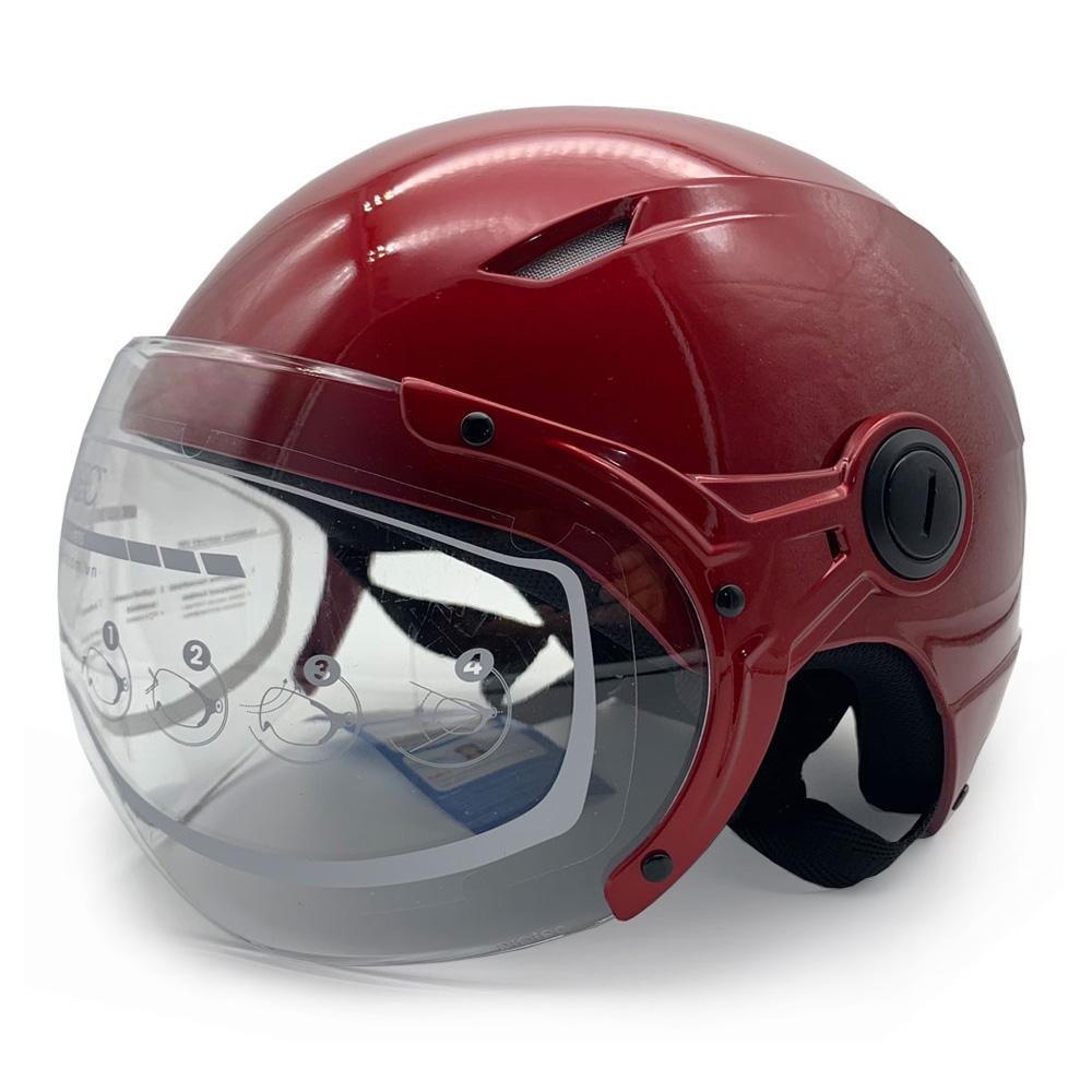 Mũ Bảo Hiểm 1/2 Đầu Có Kính Size Lớn Protec VIC, Mẫu Kính Mới, An Toàn, Chắc Chắn, Thời Trang - Hàng Chính Hãng