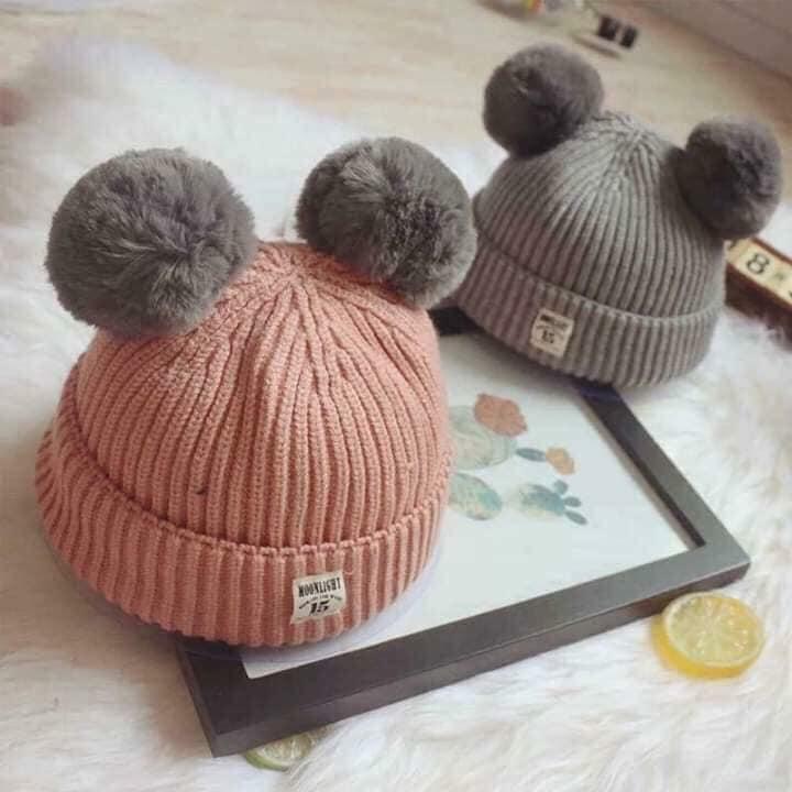 Mũ len hai quả bông cho bé từ 3 đến 36 tháng tuổi