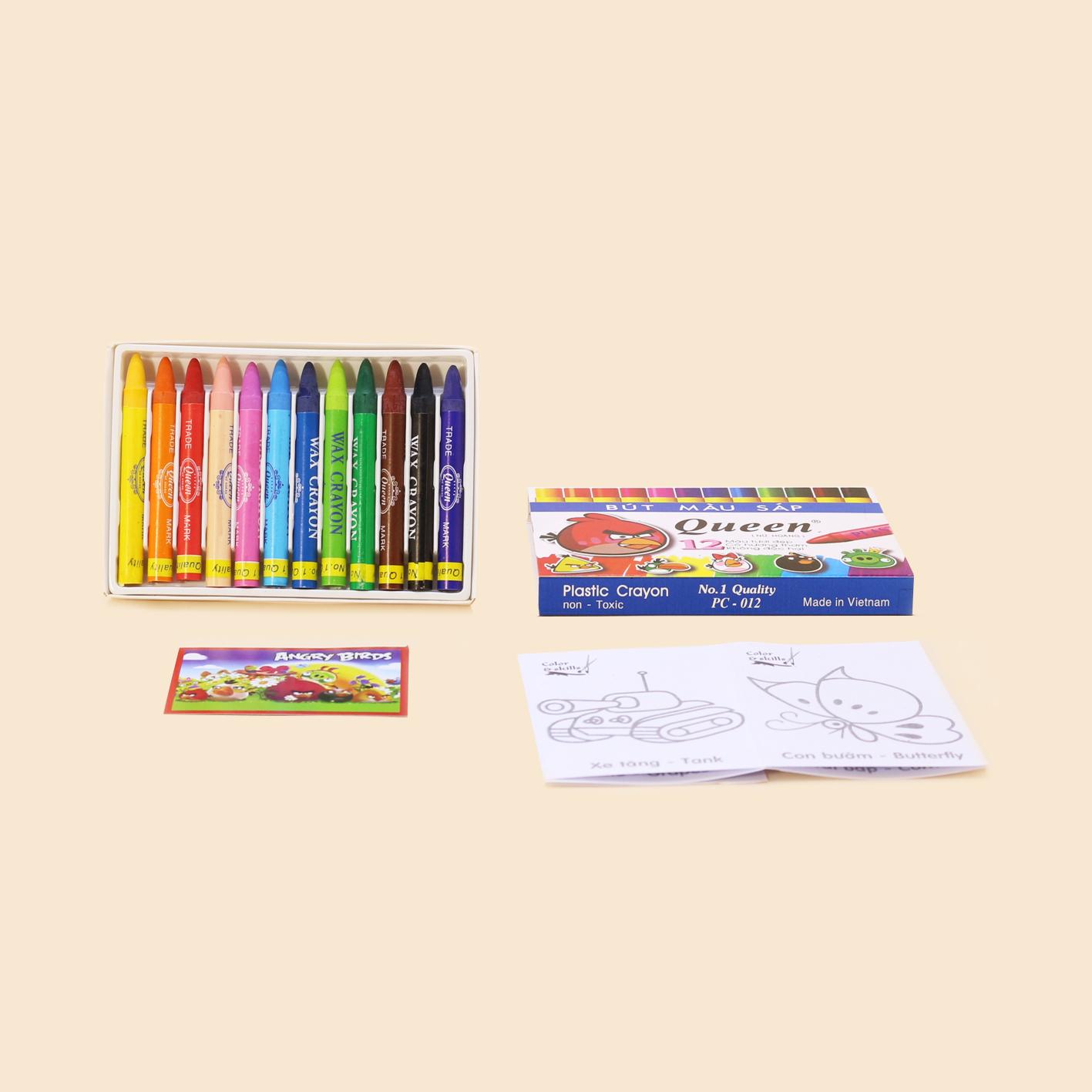Bút sáp màu 12 cây Queen - Queen Crayons