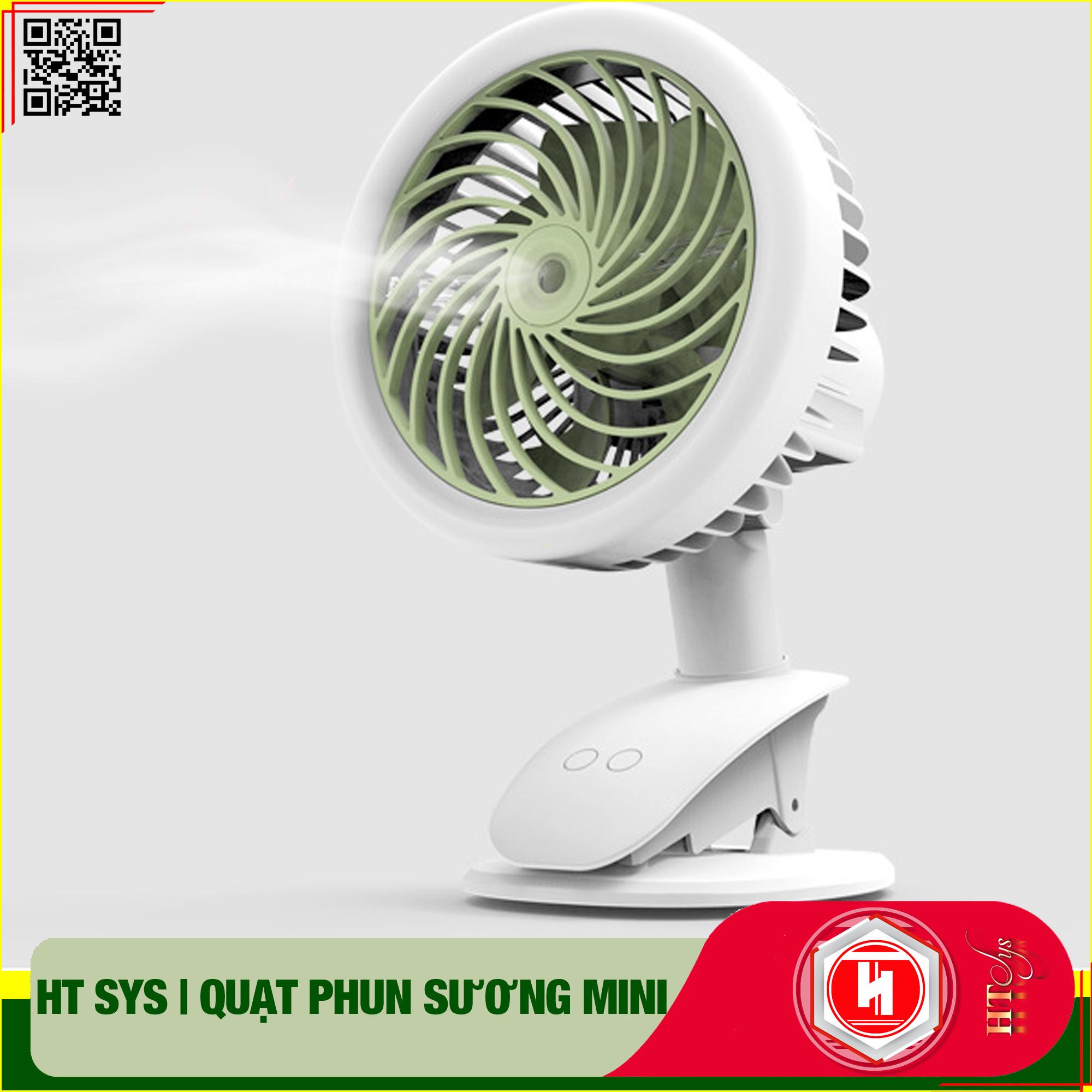 Quạt tích điện mini để bàn - HT SYS - Tích hợp kẹp bàn - Phun sương tạo độ ẩm - Hàng Nhập Khẩu