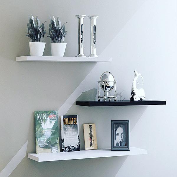 Combo Bộ 3 Kệ treo tường cạnh thẳng American Home Decor (White - Black)