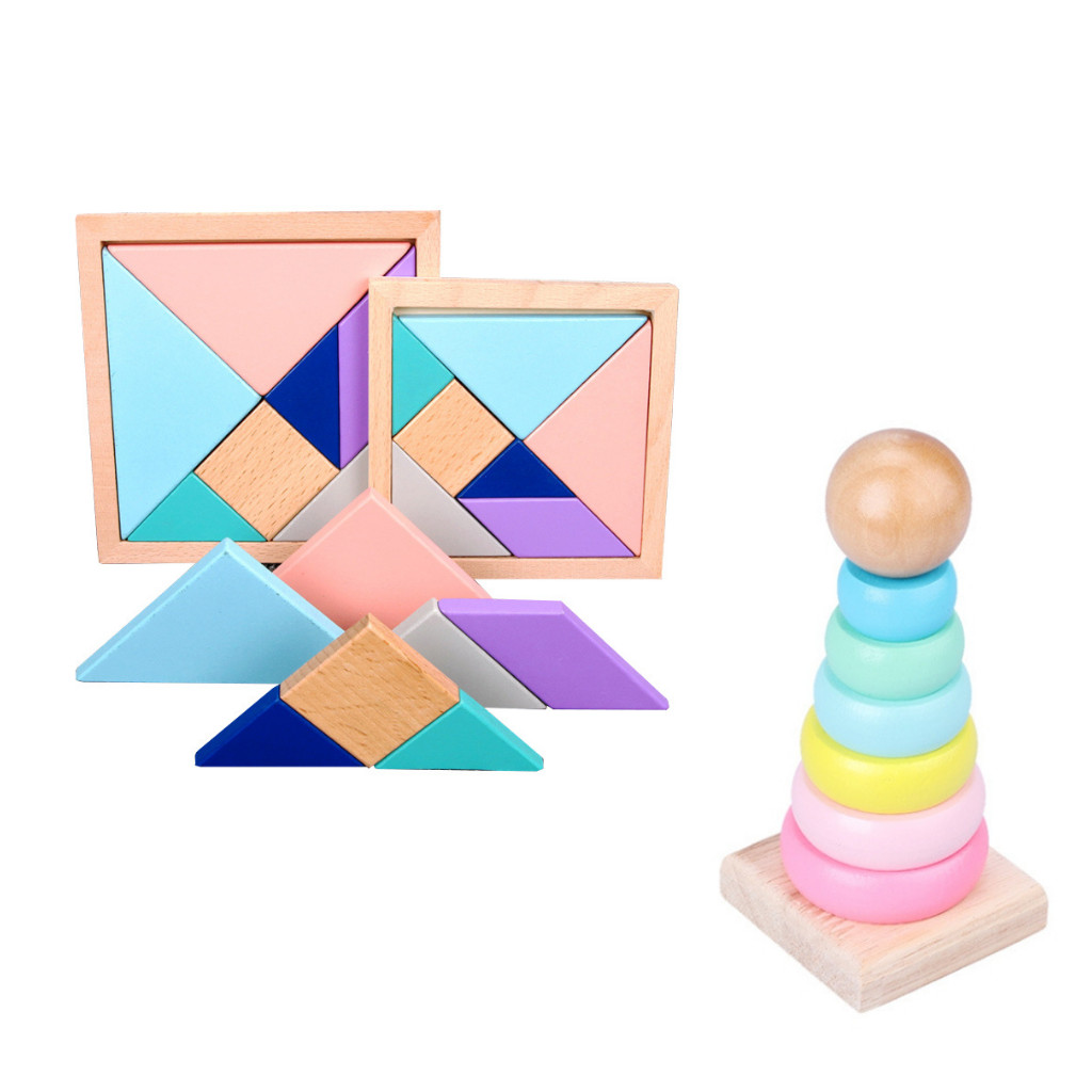 Combo Tangram + Tháp Cầu Vồng Xếp Chồng. Đồ Chơi Giáo Dục Sớm Montessori Cho Bé Từ 1 Tuổi ETED35NYN161EG