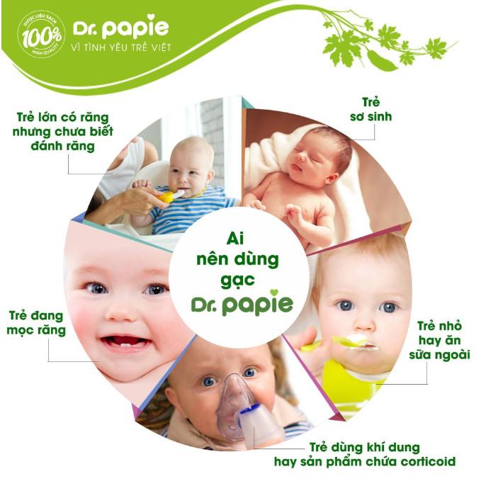 Gạc Rơ Lưỡi, Vệ Sinh Răng Miệng Cho Bé Dr Papie (Tách lẻ 10 gói)