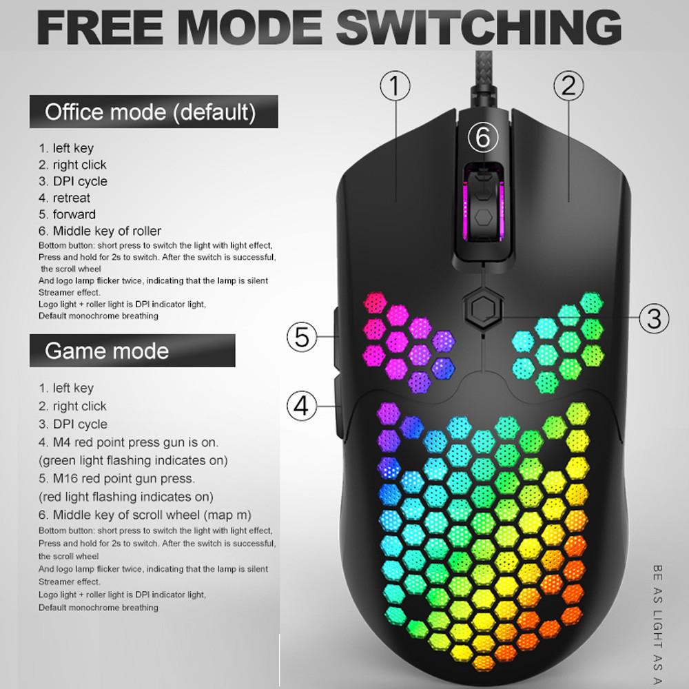 Chuột Chơi Game Có Dây 7 Nút LED 16000 DPI Đèn Nền Dành Cho Máy Tính Laptop - Hàng Chính Hãng