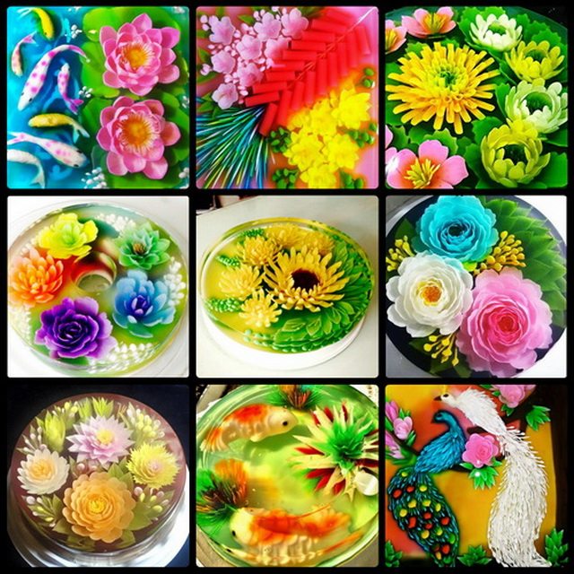Bộ 10 kim nghệ thuật làm rau câu 3D kèm ống xylanh+ Tặng kèm khuôn làm rau câu 2 ngăn có nắp đậy, giao màu ngẫu nhiên