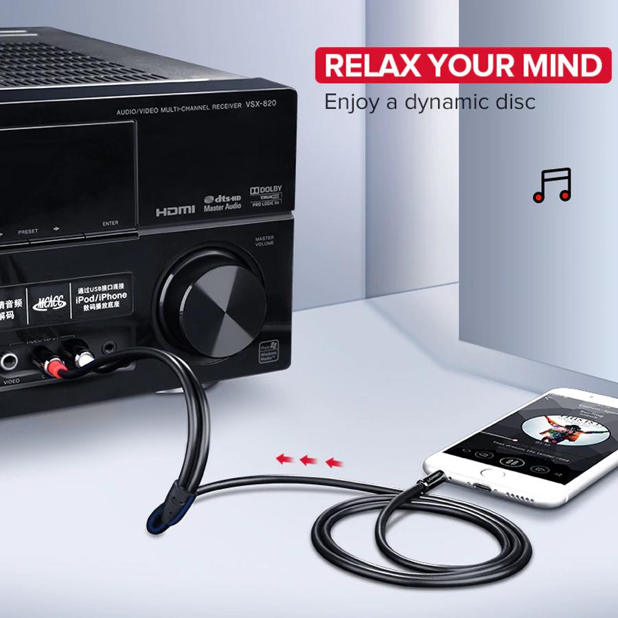 Cáp Audio 3.5mm to AV 2 đầu hoa sen (RCA) dài 3M Ugreen 10590 vỏ nhôm - Hàng chính hãng