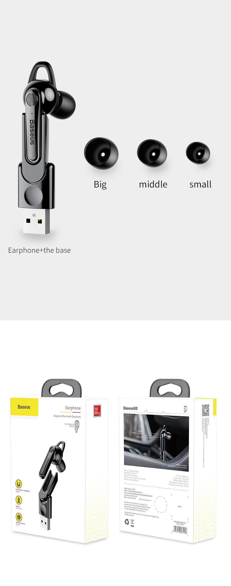 Tai nghe không dây Bluetooth 4.2 thiết kế cao cấp phím cảm ứng thông minh sạc từ Thương hiệu Baseus NGCX - Hàng chính Hãng
