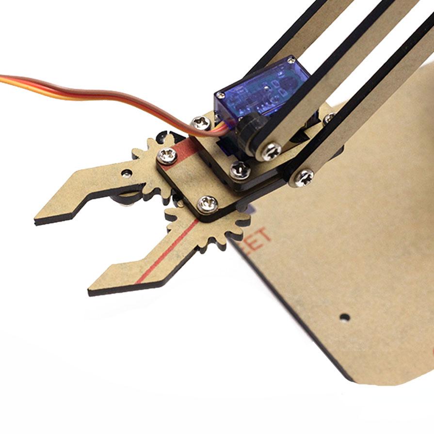 Full Bộ Cánh Tay Robot Arduino Uno Mica ( Kèm 04 Động Cơ Servo SG90, 01 Arduino Nano CH340, 01 Shield Mở Rộng Arduino NaNo )