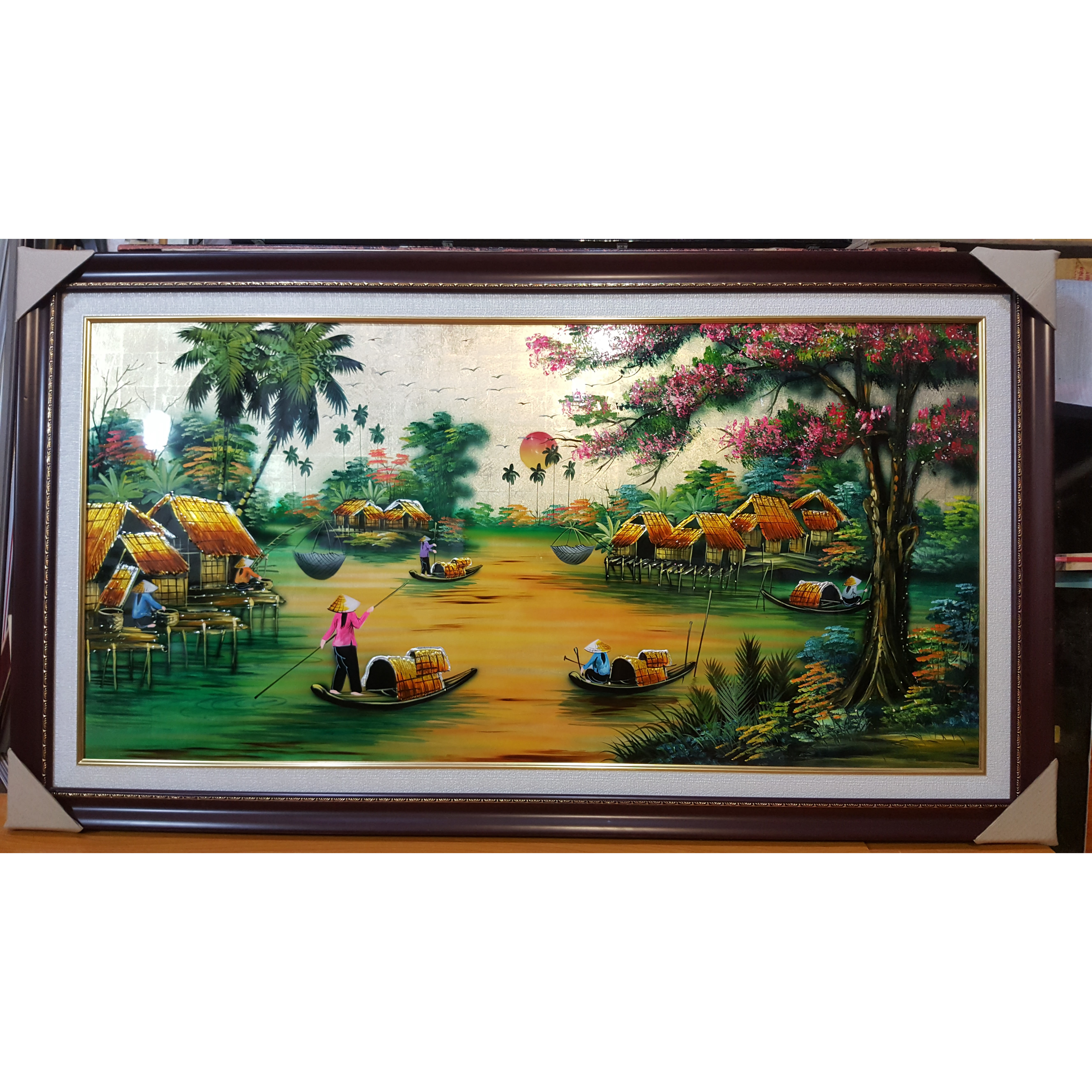 Tranh vẽ sơn mài -Phong Cảnh Miền Quê Sông Nước-SM263