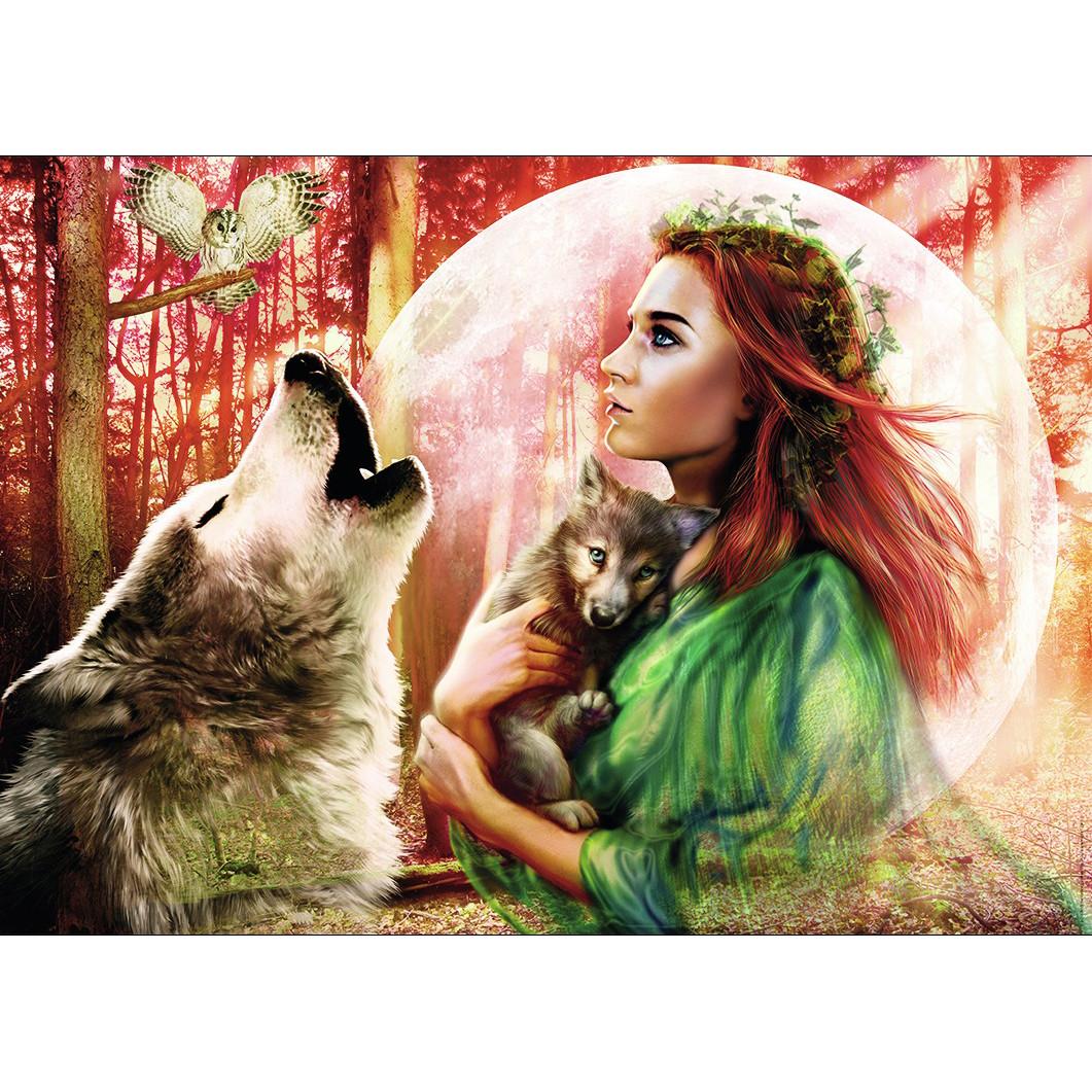 Tranh sơn dầu số hóa tự tô đã căn khung 40x50cm- RSB8344 lời ru của sói