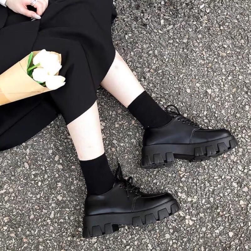 Giày Bốt cổ ngắn mix dây buộc style Hotrend 2021   - PKT fashion