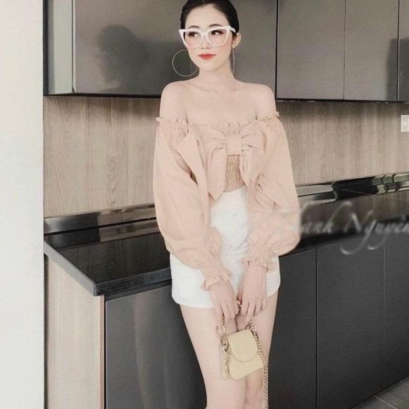 Áo kiểu nữ nhún ngực phối nơ tay lỡ siêu đẹp - hình thật