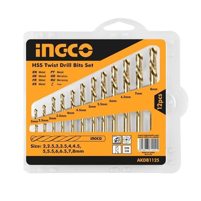 Bộ 12 mũi khoan kim loại HSS hiệu Ingco AKDB1125