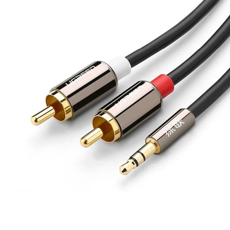 Cáp âm thanh 3.5Mm ra 2 đầu bông sen mạ vàng 24k ver 10591 5M  màu đen UGREEN Av116- Hàng chính hãng